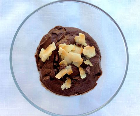 Topped with crunchy coconut chips and cacao nibs